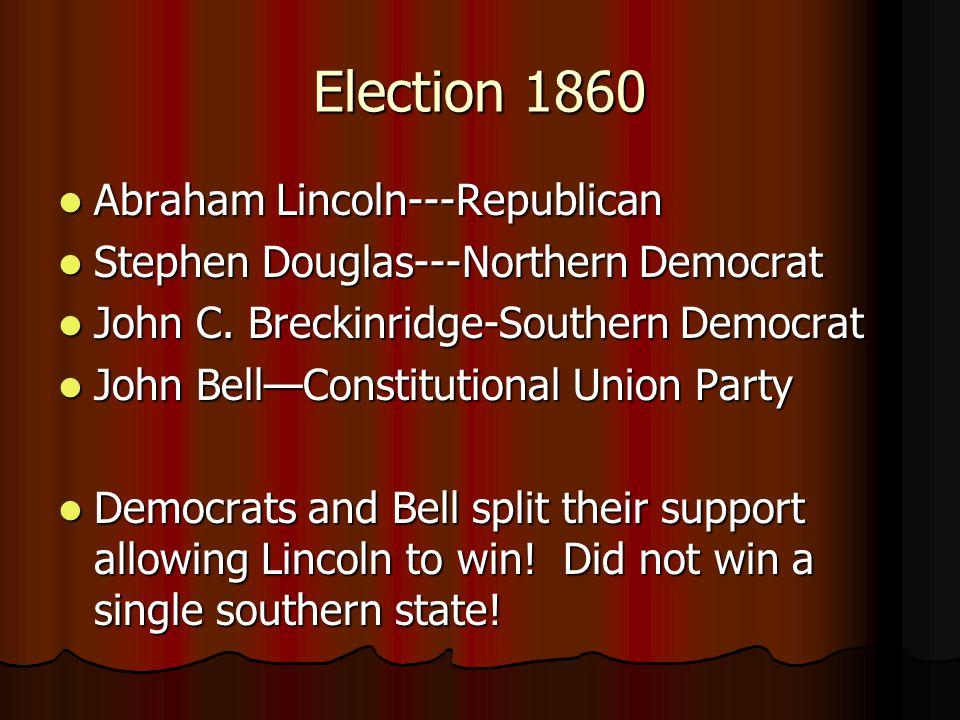 Election 1860 Abraham Lincoln---Republican Abraham Lincoln---Republican Stephen Douglas---Northern Democrat Stephen Douglas---Northern Democrat John C.