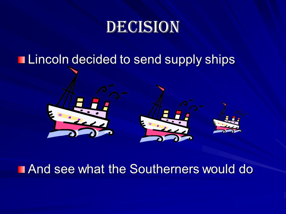 What to Do??? If I send supplies…Southerners might attack. If I send troops….Southerners WILL attack. If I do nothing…the commander will have to surre