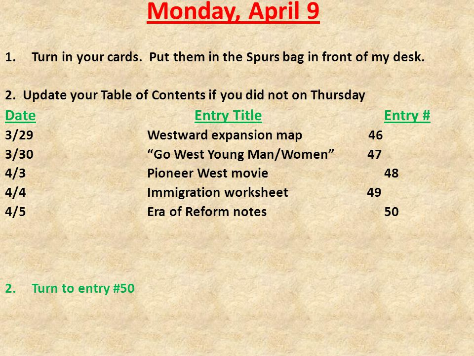 Monday, April 9 1.Turn in your cards. Put them in the Spurs bag in front of my desk.