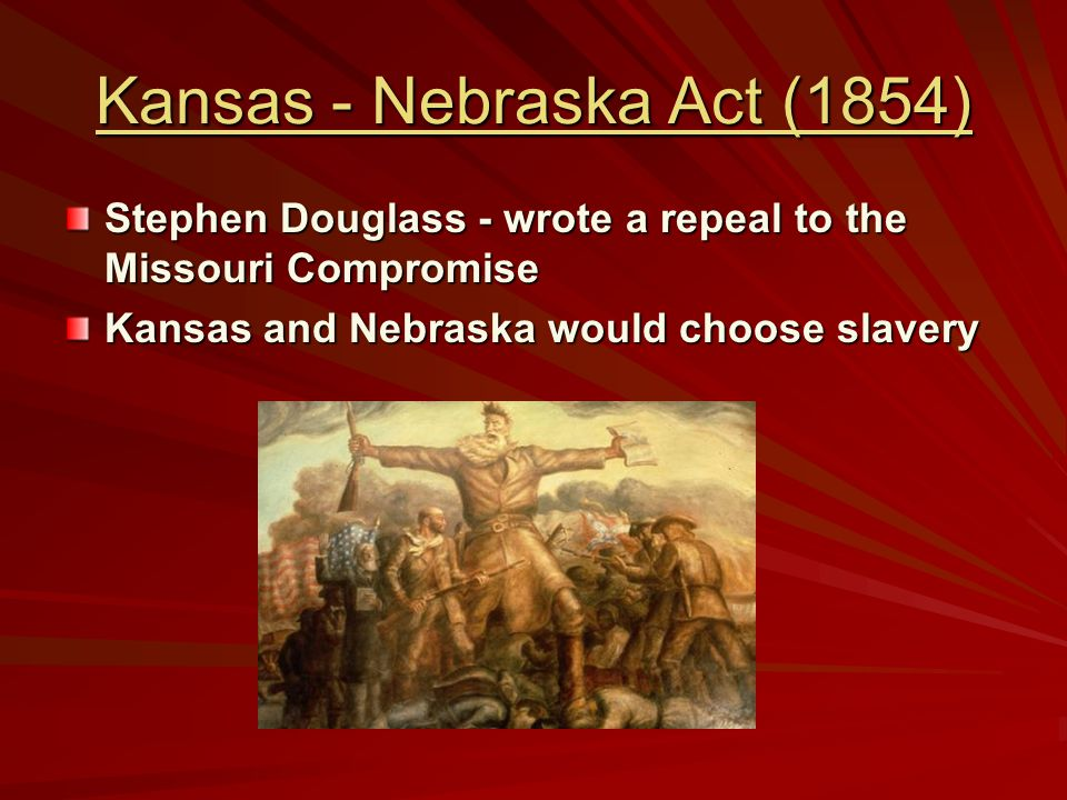 Bleeding Kansas-1854 pro/anti- slavery groups went to Kansas to influence the vote for slavery