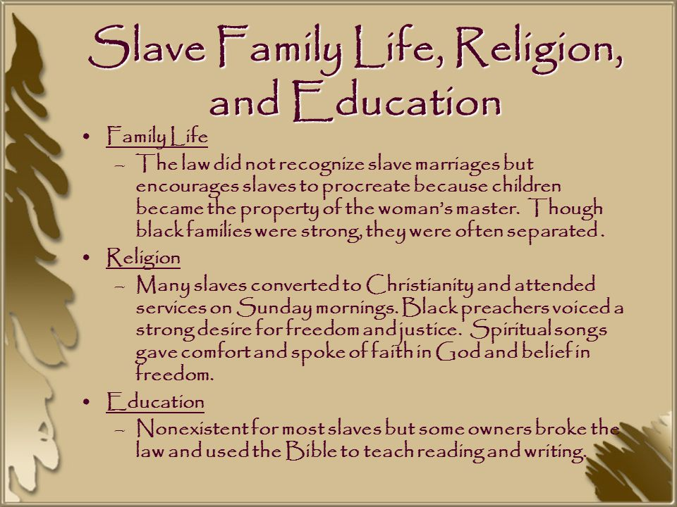 Slave Family Life, Religion, and Education Family Life –The law did not recognize slave marriages but encourages slaves to procreate because children became the property of the woman's master.