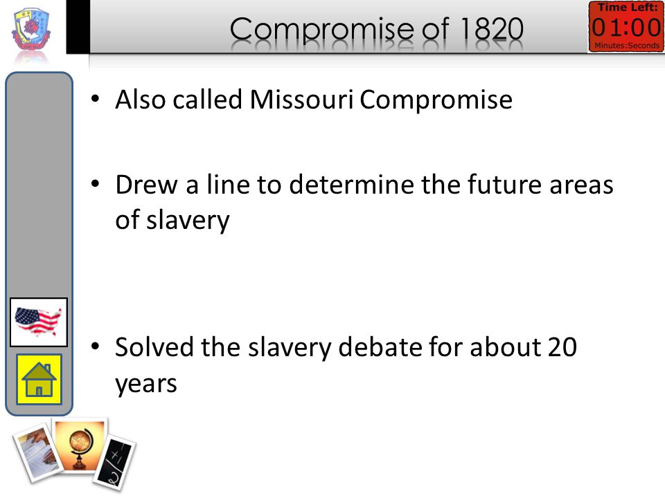 Wilmot Proviso tried to block slavery in old Mexican areas but is defeated in Congress Wilmot Proviso California applies for statehood  Debate begins and Clay organizes compromise California admitted as free state South gets stronger Fugitive law Popular Sovereignty to help decide future cases of slavery Popular Sovereignty