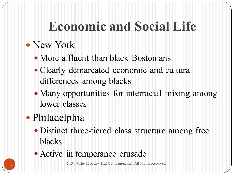 Economic and Social Life New York More affluent than black Bostonians Clearly demarcated economic and cultural differences among blacks Many opportuni