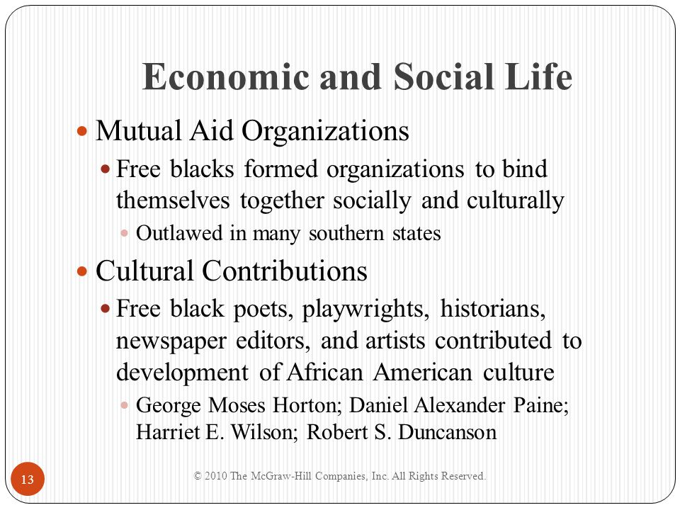 Economic and Social Life Mutual Aid Organizations Free blacks formed organizations to bind themselves together socially and culturally Outlawed in man