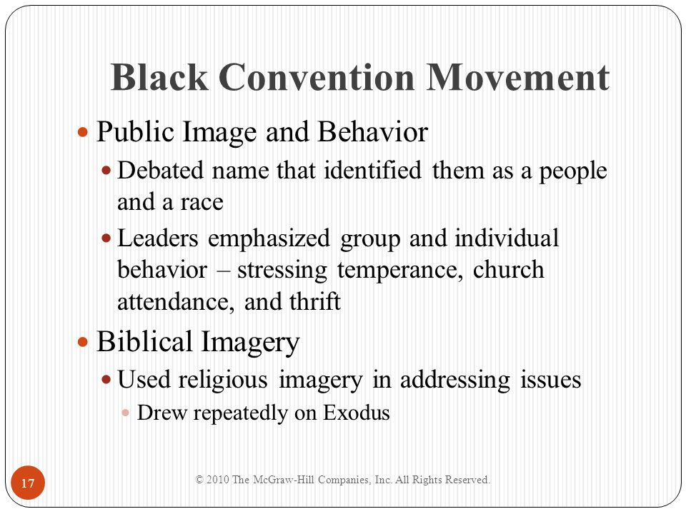 Black Convention Movement Public Image and Behavior Debated name that identified them as a people and a race Leaders emphasized group and individual b