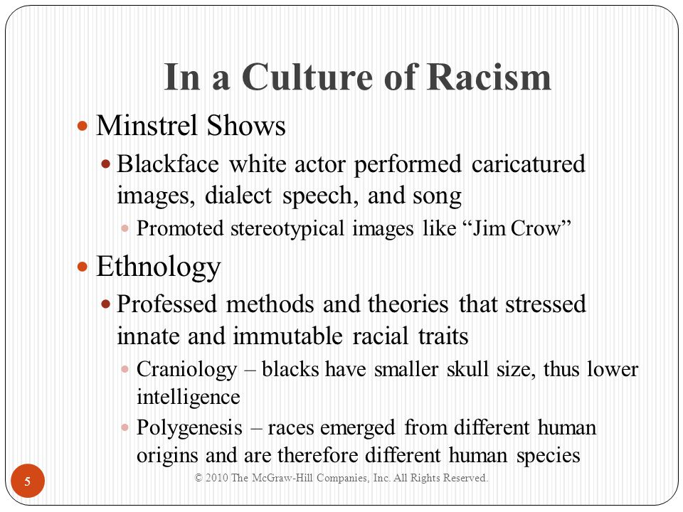 In a Culture of Racism Minstrel Shows Blackface white actor performed caricatured images, dialect speech, and song Promoted stereotypical images like