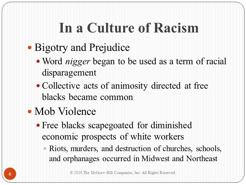 In a Culture of Racism Bigotry and Prejudice Word nigger began to be used as a term of racial disparagement Collective acts of animosity directed at f