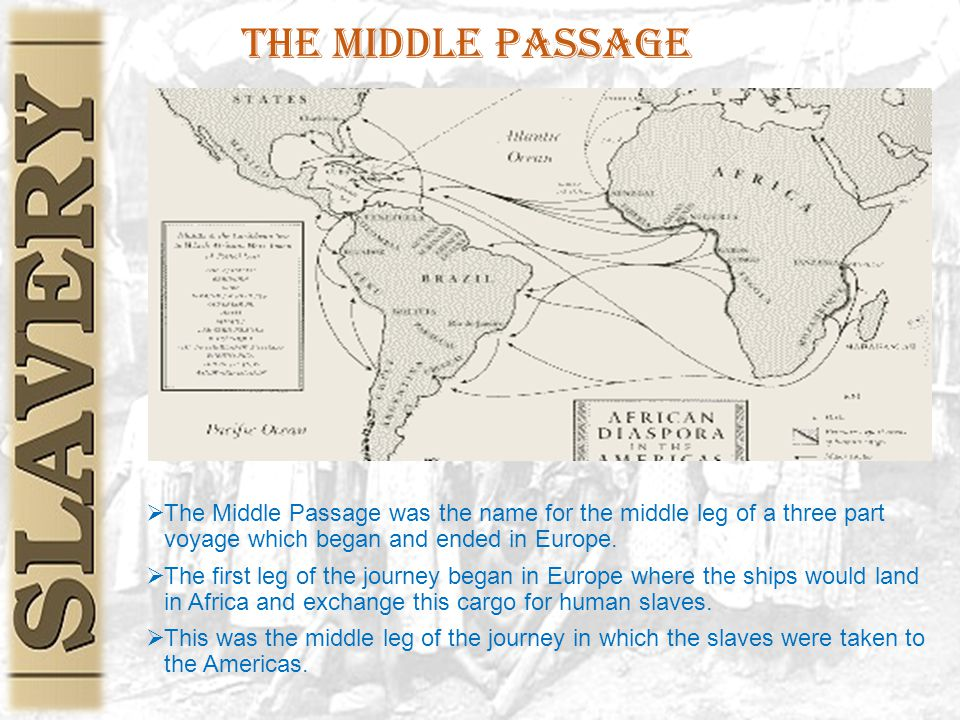 The Middle Passage  The Middle Passage was the name for the middle leg of a three part voyage which began and ended in Europe.