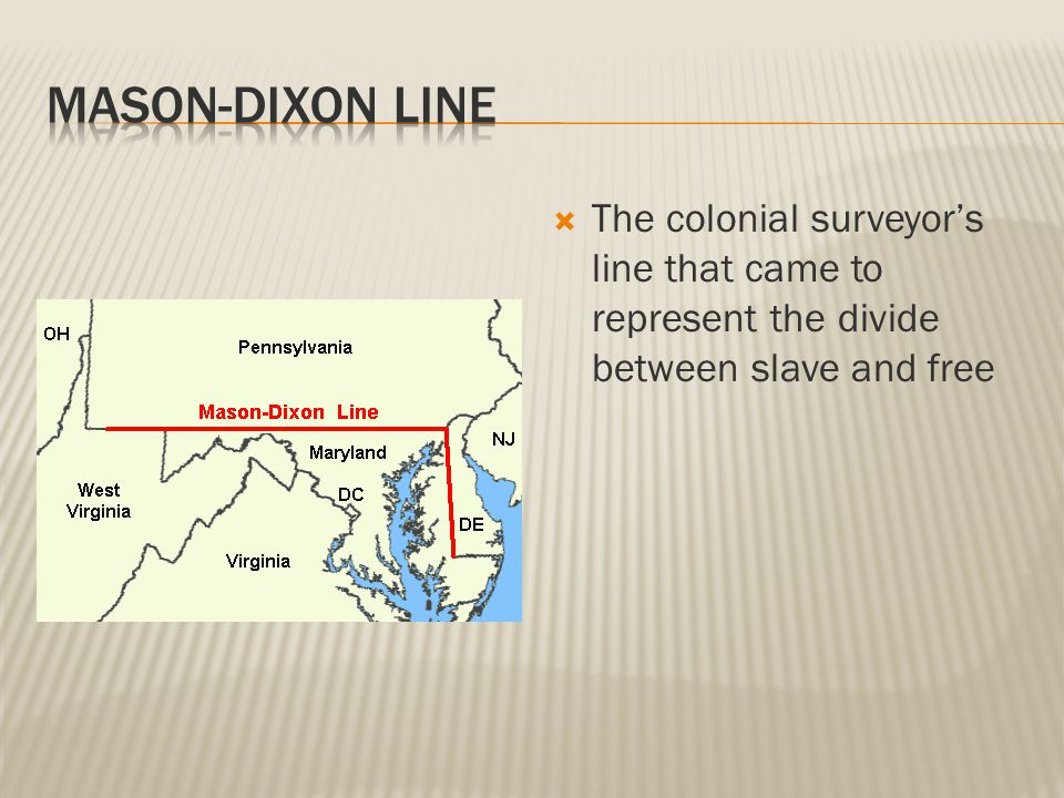 The colonial surveyor's line that came to represent the divide between slave and free
