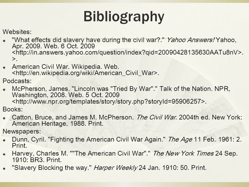 Bibliography Websites: 