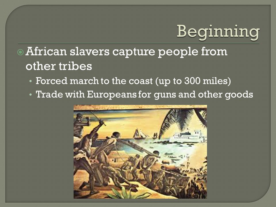  African slavers capture people from other tribes Forced march to the coast (up to 300 miles) Trade with Europeans for guns and other goods
