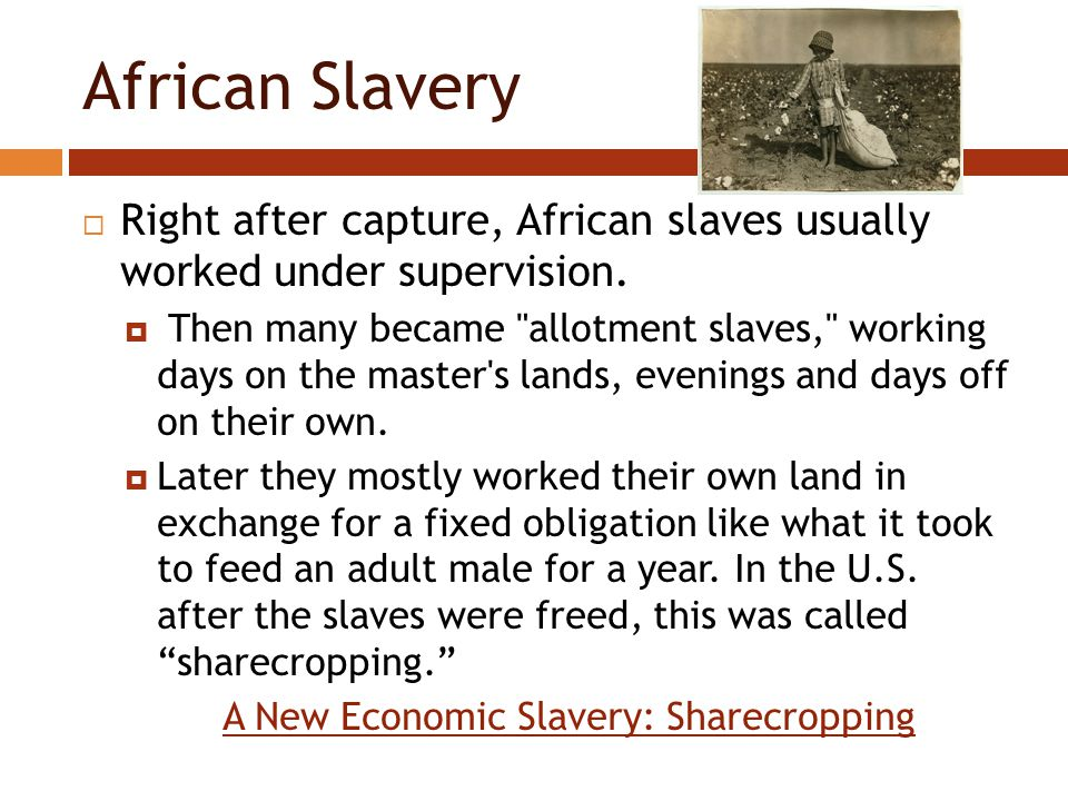 African Slavery  Right after capture, African slaves usually worked under supervision.