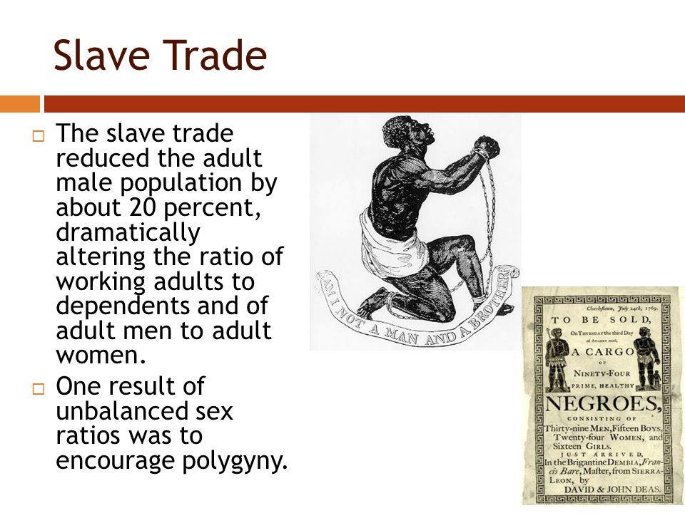 Slave Trade  The slave trade reduced the adult male population by about 20 percent, dramatically altering the ratio of working adults to dependents and of adult men to adult women.