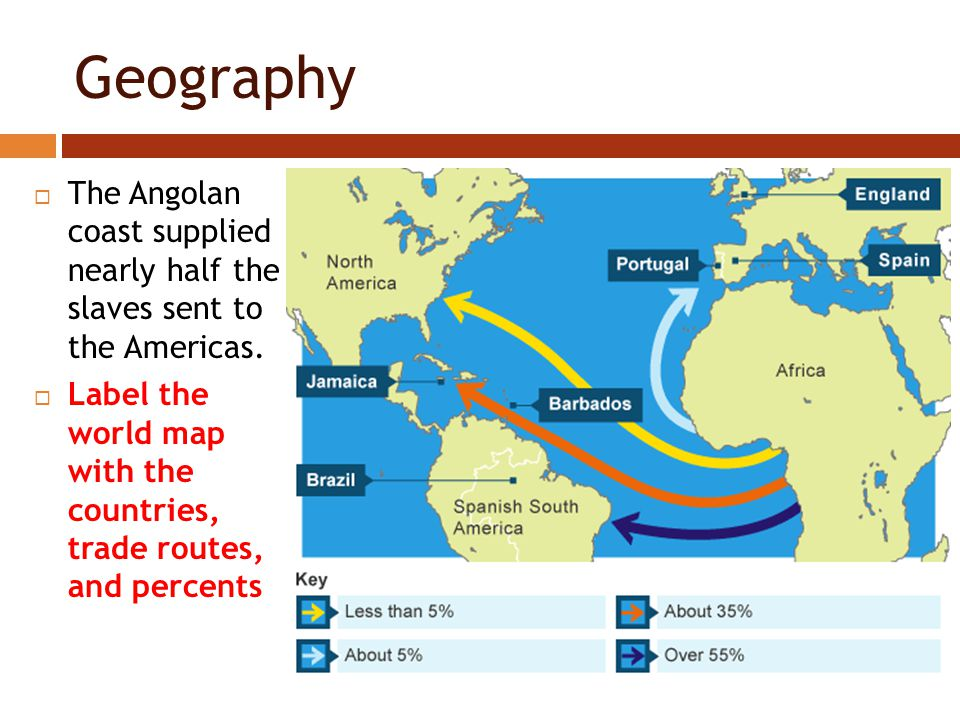 Geography  The Angolan coast supplied nearly half the slaves sent to the Americas.