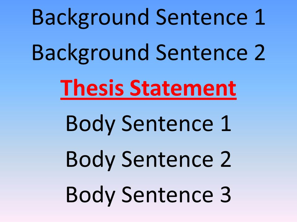 Background Sentence 1 Background Sentence 2 Thesis Statement Body Sentence 1 Body Sentence 2 Body Sentence 3