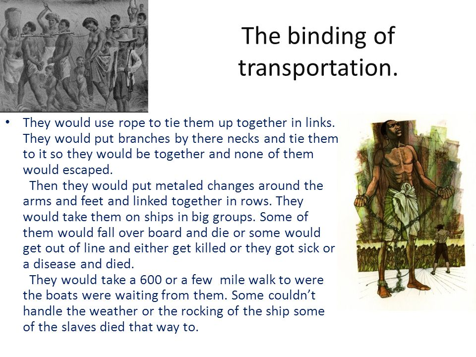 The binding of transportation. They would use rope to tie them up together in links.