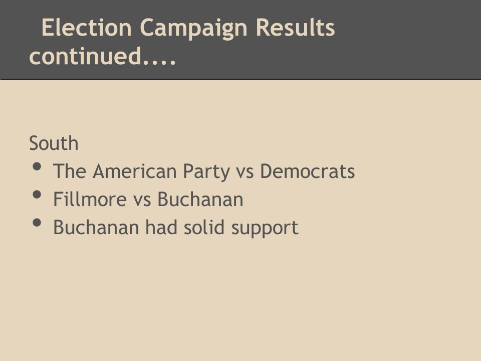 Election Campaign Results continued....