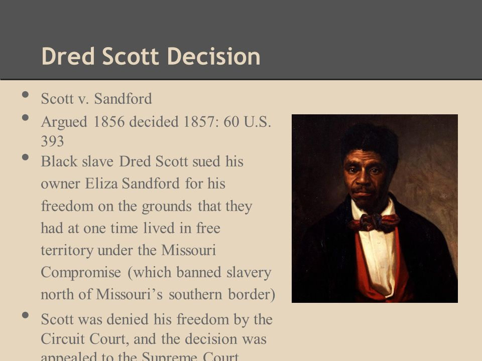 Dred Scott Decision Scott v.Sandford Argued 1856 decided 1857: 60 U.S.