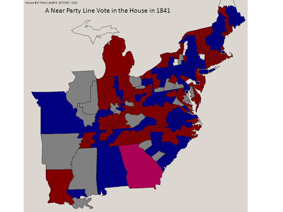 A (near) Party-Line Roll Call Vote in the House in 1841 -- Red are Whigs and Blue are Democrats A Near Party Line Vote in the House in 1841