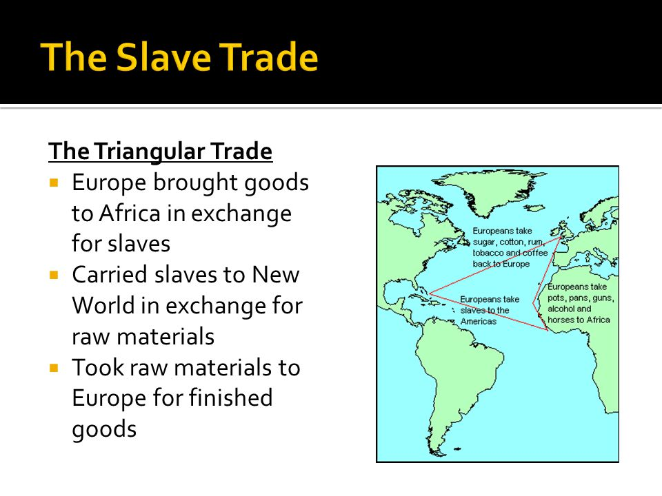 The Triangular Trade  Europe brought goods to Africa in exchange for slaves  Carried slaves to New World in exchange for raw materials  Took raw materials to Europe for finished goods