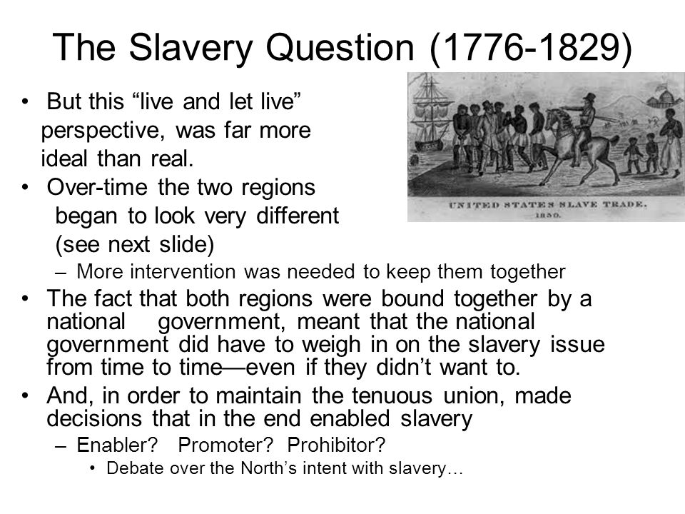The Slavery Question (1776-1829) But this live and let live perspective, was far more ideal than real.