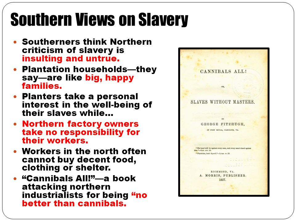 Southern Views on Slavery Southerners think Northern criticism of slavery is insulting and untrue. Plantation households—they say—are like big, happy