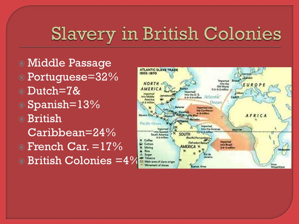  Middle Passage  Portuguese=32%  Dutch=7&  Spanish=13%  British Caribbean=24%  French Car.