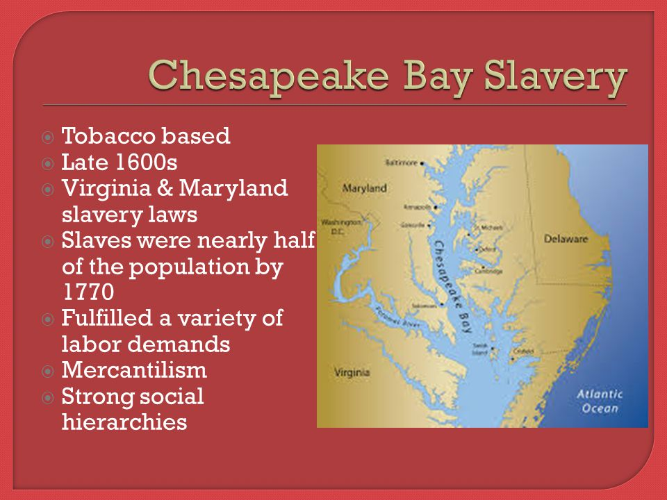  Tobacco based  Late 1600s  Virginia & Maryland slavery laws  Slaves were nearly half of the population by 1770  Fulfilled a variety of labor demands  Mercantilism  Strong social hierarchies