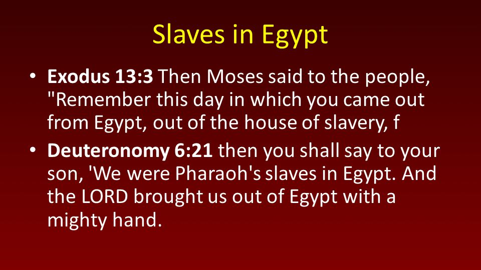 Slaves in Egypt Exodus 13:3 Then Moses said to the people,