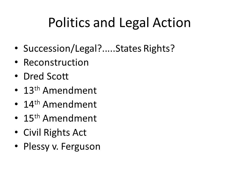 Politics and Legal Action Succession/Legal?.....States Rights.