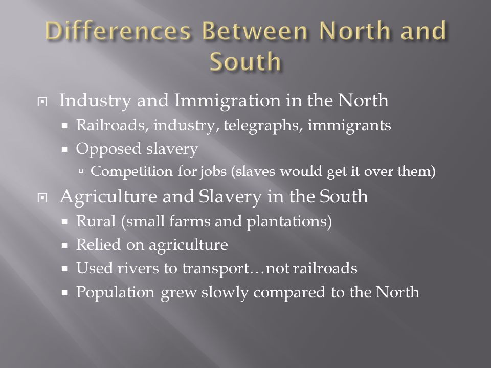  Industry and Immigration in the North  Railroads, industry, telegraphs, immigrants  Opposed slavery  Competition for jobs (slaves would get it over them)  Agriculture and Slavery in the South  Rural (small farms and plantations)  Relied on agriculture  Used rivers to transport…not railroads  Population grew slowly compared to the North