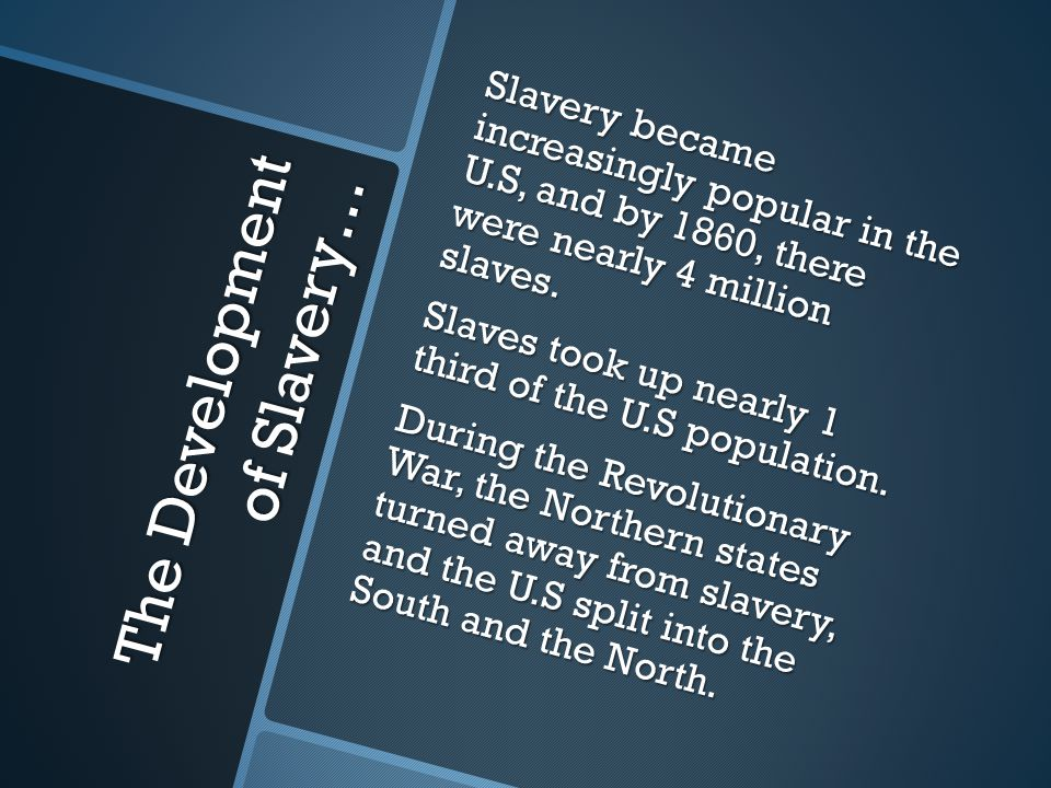 The Start Of Slavery… Slavery first started in the U.S when the first Africans were brought in to aid with farming in the early 1600s.