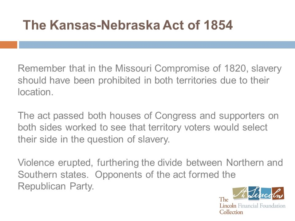 A Fractured Country in 1861 The Kansas-Nebraska Act was a pre-cursor to the beginning of the Civil War in 1861, fracturing between slave and non-slave states.