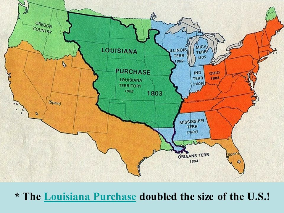 * The Louisiana Purchase doubled the size of the U.S.!Louisiana Purchase