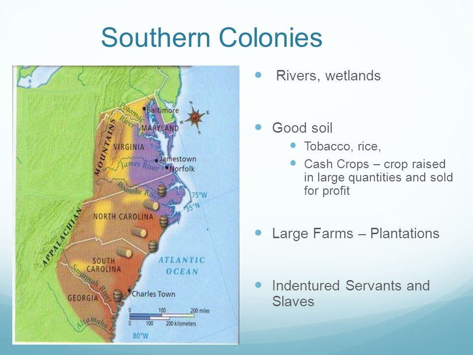 Southern Colonies Rivers, wetlands Good soil Tobacco, rice, Cash Crops – crop raised in large quantities and sold for profit Large Farms – Plantations Indentured Servants and Slaves
