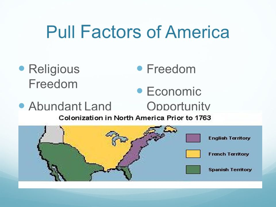 Pull Factors of America Freedom Economic Opportunity Religious Freedom Abundant Land