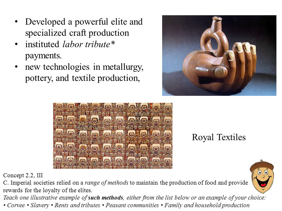 Royal Textiles Developed a powerful elite and specialized craft production instituted labor tribute* payments.