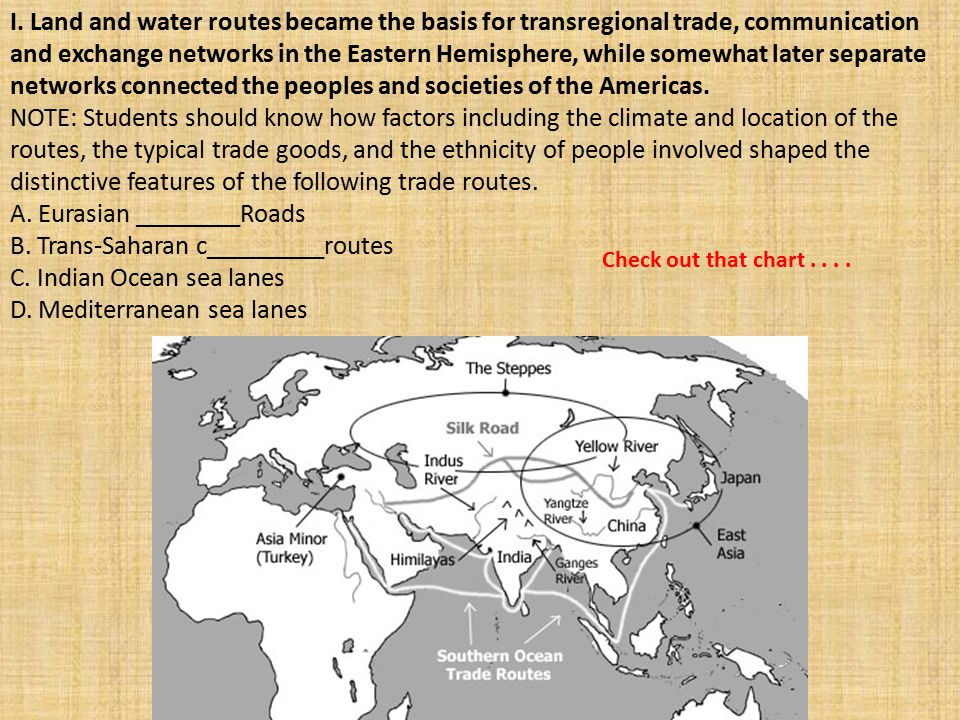 I. Land and water routes became the basis for transregional trade, communication and exchange networks in the Eastern Hemisphere, while somewhat later