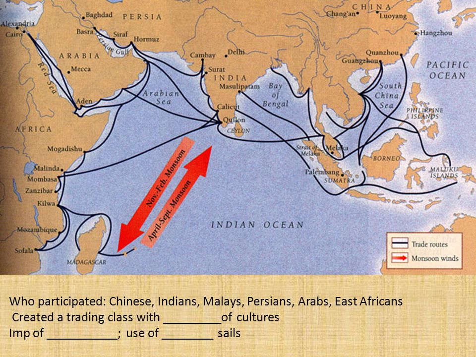 Who participated: Chinese, Indians, Malays, Persians, Arabs, East Africans Created a trading class with _________of cultures Imp of ___________; use of ________ sails