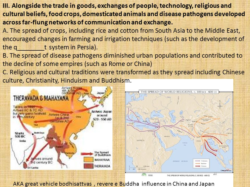 III. Alongside the trade in goods, exchanges of people, technology, religious and cultural beliefs, food crops, domesticated animals and disease patho