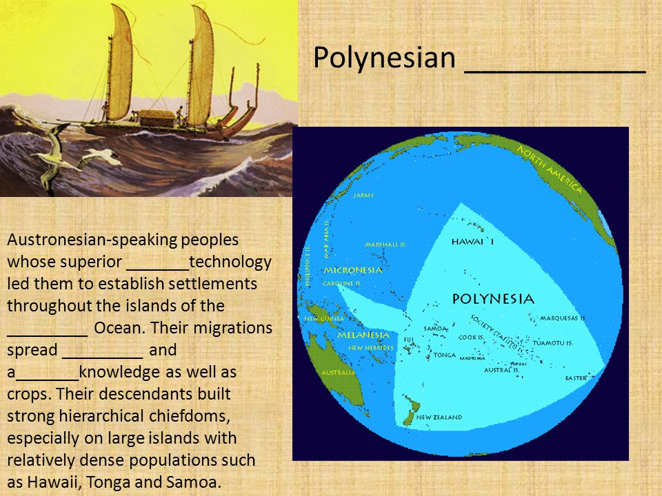 Austronesian-speaking peoples whose superior _______technology led them to establish settlements throughout the islands of the _________ Ocean.