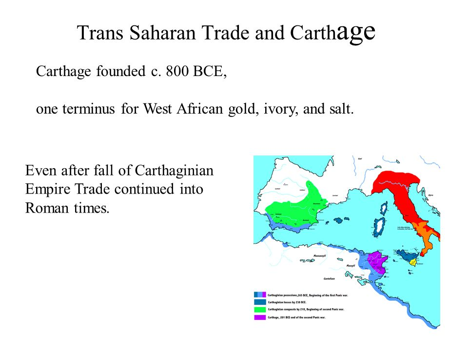 Trans Saharan Trade and Carth age Carthage founded c.