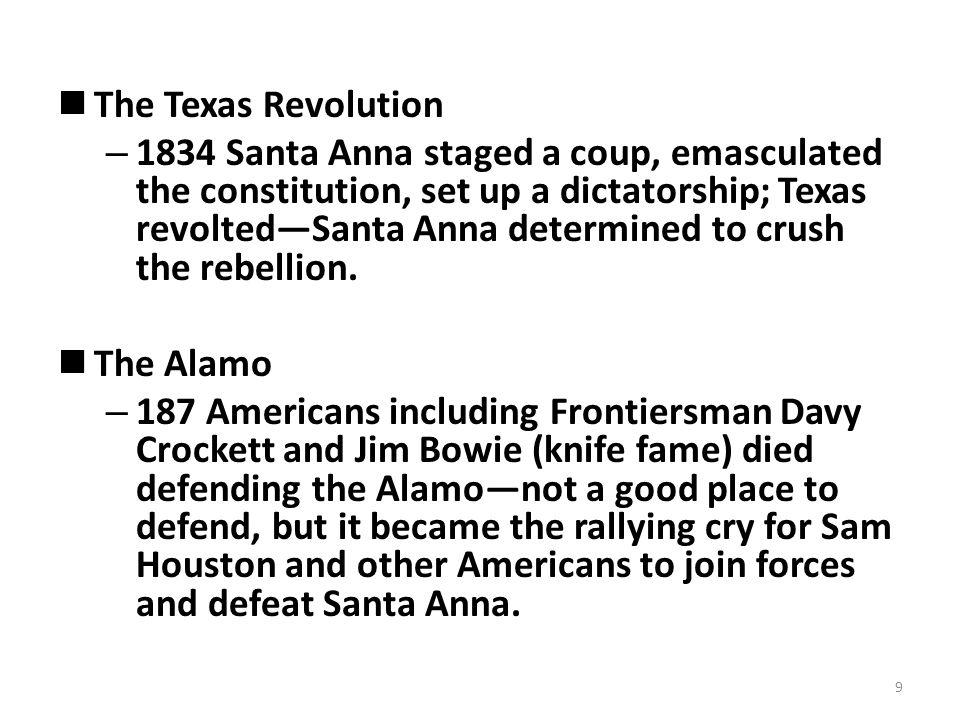 The Alamo—Davy Crockett dies a hero.