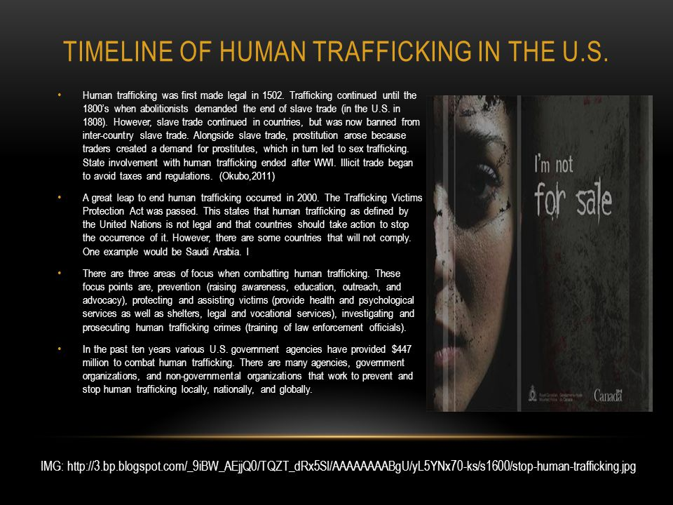 TIMELINE OF HUMAN TRAFFICKING IN THE U.S. Human trafficking was first made legal in 1502.