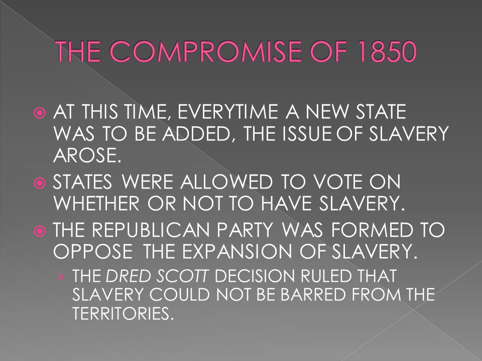  AT THIS TIME, EVERYTIME A NEW STATE WAS TO BE ADDED, THE ISSUE OF SLAVERY AROSE.