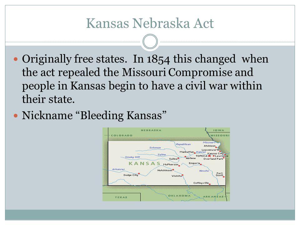 Kansas Nebraska Act Originally free states.
