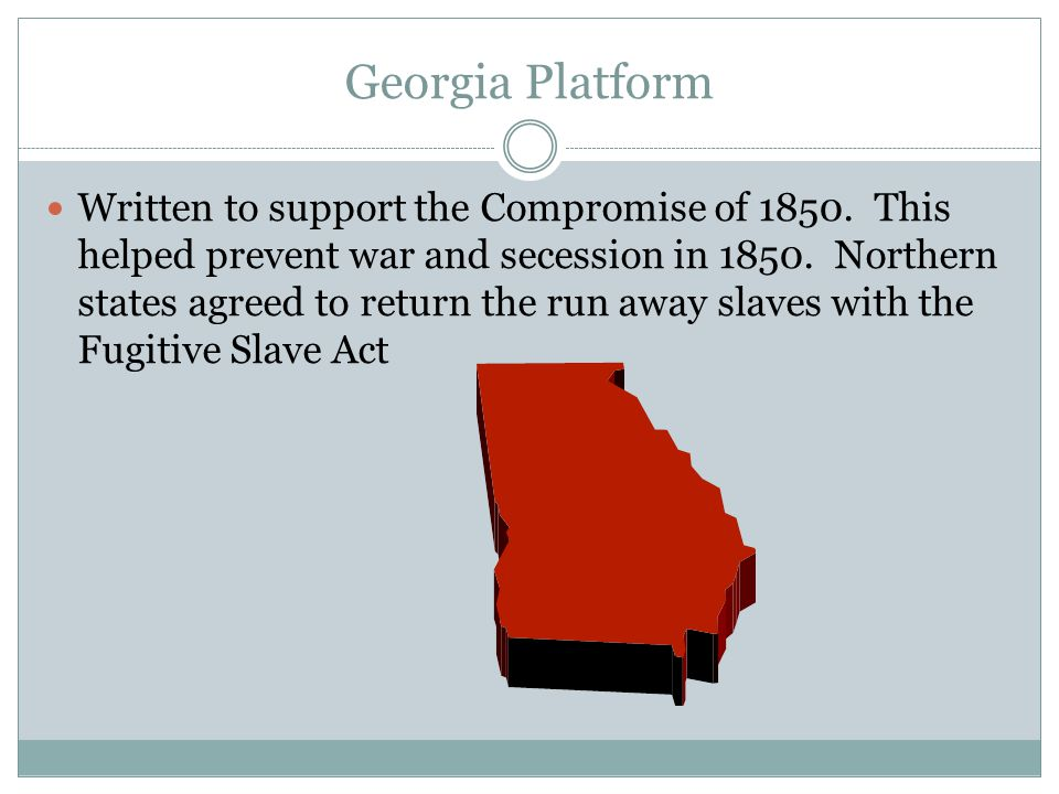 Georgia Platform Written to support the Compromise of 1850.