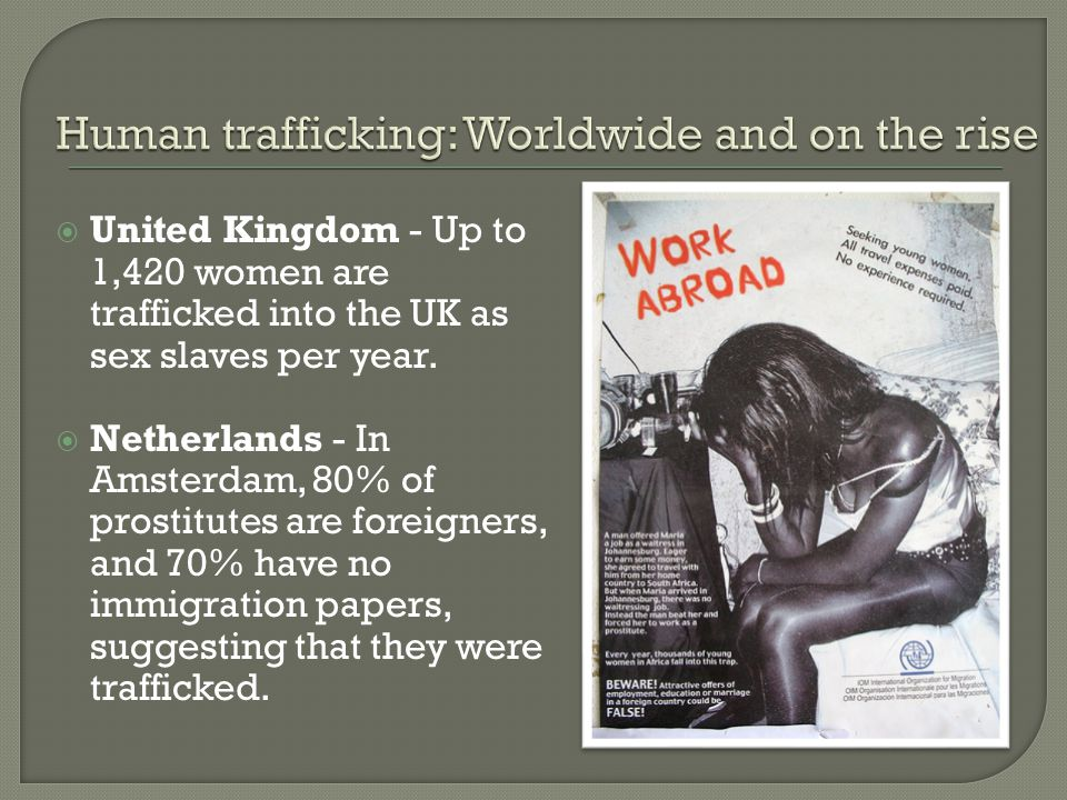  United Kingdom - Up to 1,420 women are trafficked into the UK as sex slaves per year.
