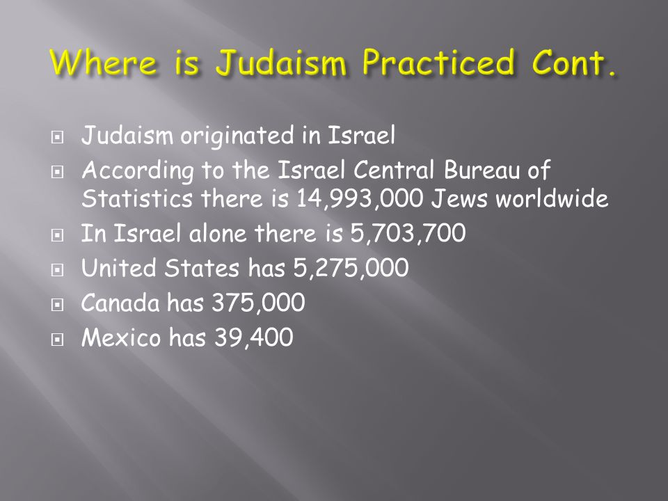  Judaism originated in Israel  According to the Israel Central Bureau of Statistics there is 14,993,000 Jews worldwide  In Israel alone there is 5,703,700  United States has 5,275,000  Canada has 375,000  Mexico has 39,400