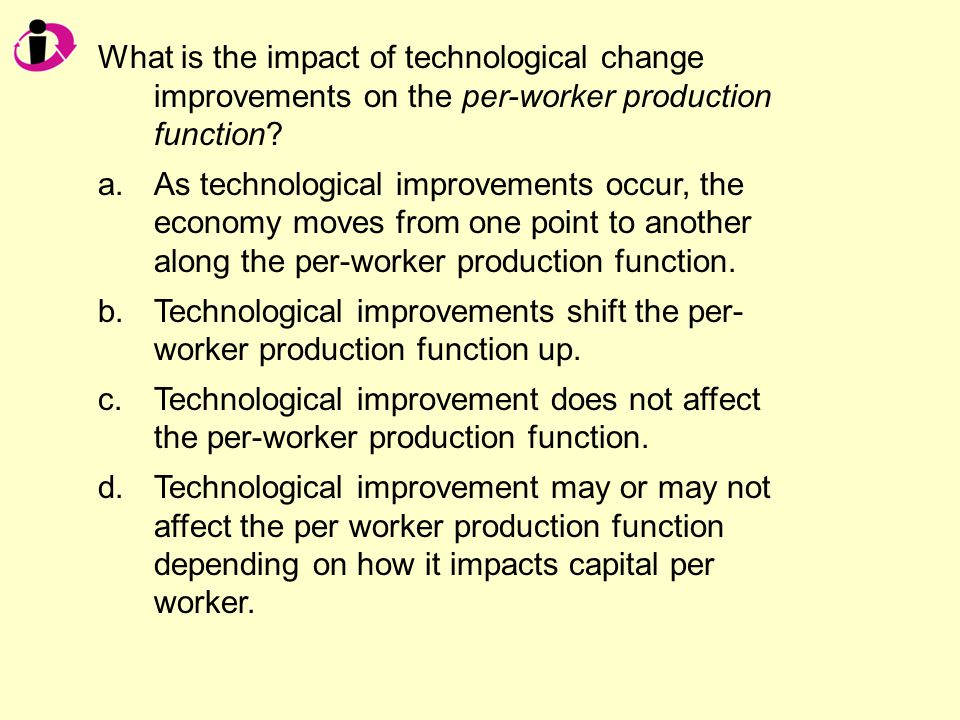 What is the impact of technological change improvements on the per-worker production function.